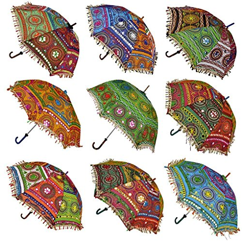 Ekam Art Rajasthani Handicraft Cotton Sun Protection Umbrella (24x28-inches, Multicolour)- Pack of 10