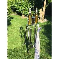 2er Flaschen- und Grillbesteckhalter Bierhalter aus Edelstahl Handarbeit