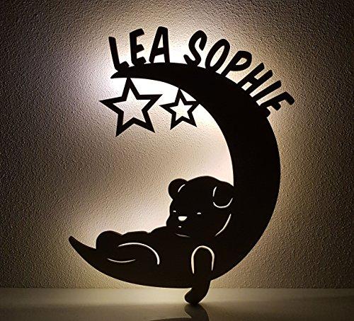 Schlummerlicht / Nachtlicht - Mond mit Bär - personalisiert mit Namen - Optional auch mit Lackierung und / oder Zugschalter