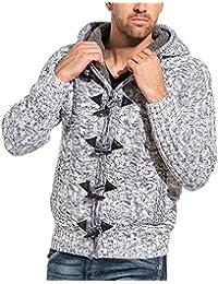 BLZ jeans - Gilet homme fourré blanc zippé et boutons brandebourg
