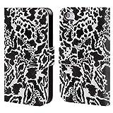 Head Case Designs Offizielle Vasare NAR Phantasie Schwarz Und Weiß Brieftasche Handyhülle aus Leder für iPhone 4 / iPhone 4S