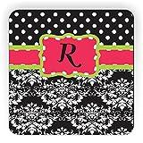 "Rikki Knight Initial ""R"" Damask Dots Design Square Fridge Magnet, Pink/Green/Black"