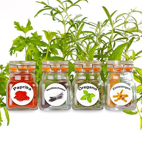 Neu - 50 abwaschbare Kunststoff Kräuter und Gewürzdosen Etiketten. Bunte, attraktive Bilder mit 50 Kräutern und Gewürzen. Gewürzglas Etiketten.