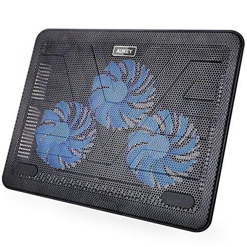 Aukey CP-R1 Laptop Kühler 43,18 cm (17 Zoll) Ständer/Pad mit USB Port und 3 LED Lüftern schwarz
