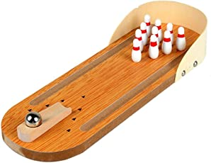 Trinkets & More Wooden Bowling Ball Game Miniature for Adults and Kids, 5+ Years (Multicolour)
