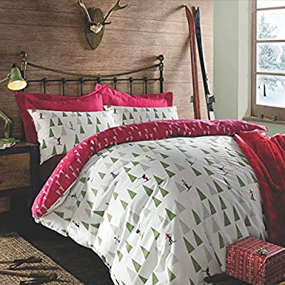 Dreamscene Snow Ski Christmas Duvet Cover Pillow Case Bedding Set, Red, Double produced by Dreamscene - quick delivery from UK.