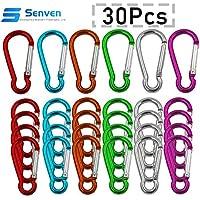 Senven® 30Pcs 5cm Aluminio Mosquetón Set (Gourd-Shape), Mini llavero Mosquetón, Gancho de Resorte y Gancho de Clip Mosquetón (Not For Climbing!)