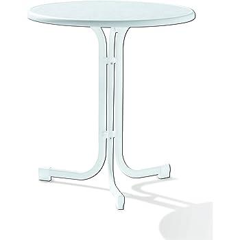 Sieger 108/W Boulevard Klapptisch Mit Mecalit Pro Platte Ø 70 Cm,  Stahlrohrgestell Weiß, Tischplatte Marmordekor Weiß