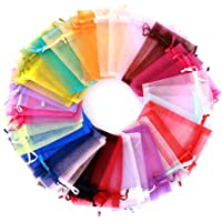 nuoshen 100Pcs Mix Color Small Organza Bags, Organza Pouches Wedding Favor Bags Jewelry Pouches with Drawstring