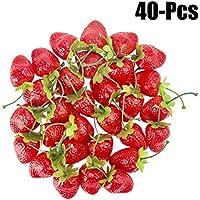 Outgeek 40PCS Fresas Artificiales Frutas Falsas Realistas Frutas Decorativas para Fiesta S