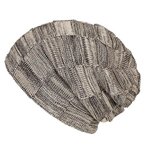 Maglia di lana a quadri a testa cilindrica - iParaAiluRy unisex di lusso alla moda Spesso Slouchy Cap cappello caldo più velluto in inverno e primavera - Angelo Visiera Clip