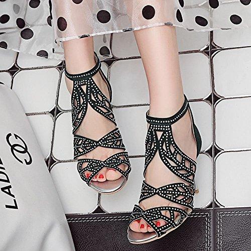 MissSaSa Femmes Sandales Fermetures Eclair Chaussures Talons Hauts Aiguille Olive