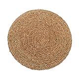 studio TR | Handmade Seegras Teppich rund geflochten mit Naturfaser Jute, handmade, fair, nachhaltig, unbehandelt | Größe S: Ø 60 cm | Teppich Natur, Wohnzimmer, Schlafzimmer, Badezimmer, Kinderzimmer