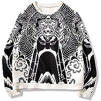 El otoño y el invierno jersey de manga larga Pullover chino viento joven hombres camisa de impresion tamaño suéter Facebook,Black,XXXXL