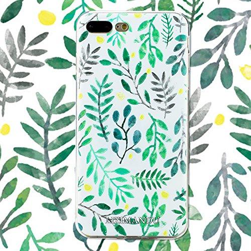 iPhone 7 Plus Coque,Lizimandu Tpu Silicone Gel Étui Housse Protection Shell Cover Case Pour Apple iPhone 7Plus(éléphant/Elephant) Feuilles/Leaves
