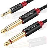 SHULIANCABLE Câble Audio 3.5mm vers Double 6.35mm, 6.35 Mâle vers 3.5 Mâle Mono Y Splitter Jack Câble pour Haut-parleurs, Tab