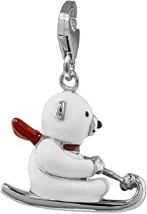Charm Anhänger Eisbär Silber 925 Emaillie weiss Charms für Bettelarmband Ketten