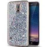 Galaxy S5 Hülle,Galaxy S5 Neo Hülle,Glänzend Bling Glitzer Diamant Muster TPU Silikon Handy Hülle Tasche Silikon Case Durchsichtig Handyhülle Etui Case Cover Schutzhülle für Galaxy S5 / S5 Neo,Silber