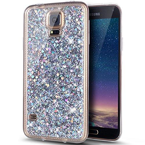 Kompatibel mit Galaxy S5 Hülle,Galaxy S5 Neo Hülle,Glänzend Bling Glitzer Diamant TPU Silikon Handy Hülle Tasche Silikon Case Durchsichtig Handyhülle Case Cover Schutzhülle für Galaxy S5/S5 Neo,Silber (Handy Für S5 Case Galaxy)