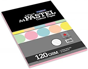 Campap Pastel Colour Paper (120 gsm, 5 mixed colours, Two side ruled, A4, 20 sheets in a pack) - Pack of 2
