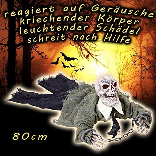 NET TOYS Animierte Zombie Leiche Gruselige Skelett Halloween Deko mit Licht und Sound Dekofigur Sensenmann Grim Reaper Partydeko Monster Halloweendeko Garten Halloween Deko Ideen