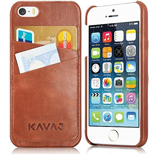 KAVAJ Lederhülle Tokyo geeignet für Apple iPhone SE, 5S & 5 Case Lederhülle Backcover Tasche Cognac braun aus echtem Leder mit Visitenkartenfach. Dünnes Backcover als edles Zubehör