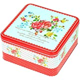 Enwraps Red Big Roses Square Multipurpose Metal/Tin Utility Box For Home/Kitchen/Wedding/Casual Gift. LBH(inches)-9x9x4.5