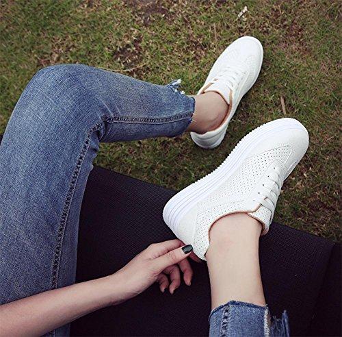 Freizeitschuh, flache Schuhe Frauen Schuhe atmungsaktiv Spitze rund schweren Boden Schuhe Frauen Schuhe Student white camel
