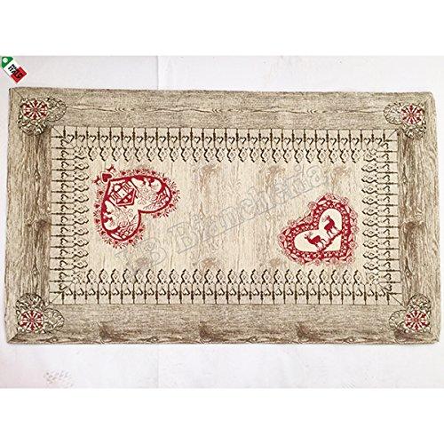 Teppich Läufer für Bettvorleger in Chenille GARDENA Tiroler, Boden antiscicolo-Made in Italy-cm 60x 140