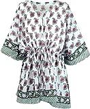 Guru-Shop Hippie Poncho, Kaftan, Tunika, Poncho Bluse, Damen, Weiß/grün, Baumwolle, Size:One Size, Blusen & Tunikas Alternative Bekleidung