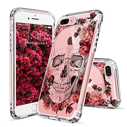 MOSNOVO iPhone 8 Plus Hülle, iPhone 7 Plus Hülle, Blühen Blumen Flower Totenkopf Muster TPU Bumper mit Hart Plastik Hülle Durchsichtig Schutzhülle für iPhone 7 Plus/iPhone 8 Plus (Floral Skull)