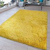 TT Home - Tappeto Shaggy Flokati, Lavabile, Tinta Unita, Colore: Giallo, 140 x 200 cm