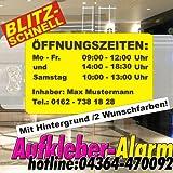 Öffnungszeiten-Aufkleber mit Hintergrund ca.30x20cm, 2-farbig, Inhaber Wunschtext, Geschäfstzeiten