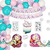 Decoracion cumpleaños sirena,Sirena Papel de Aluminio Globo,Decoracion cumpleaños sirena niña,Decoraciones de fiesta sirenita