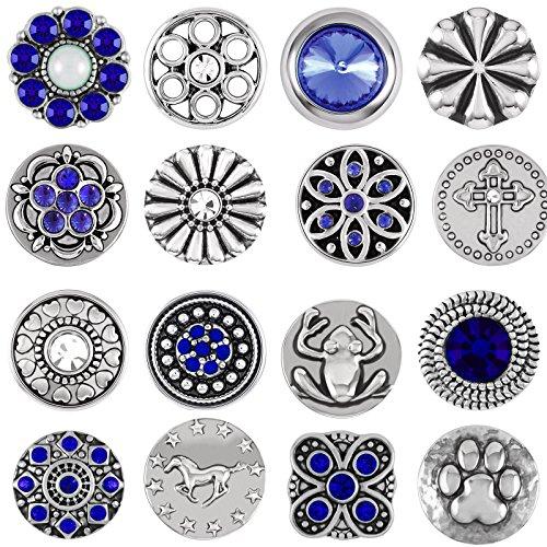 Mini Small Button Druckknopf 12er Set Knopf Petit Klick Armband kompatibel mit Chunks Silber Farben auswahl Schmuck Blau (Guess-designer-kleidung)