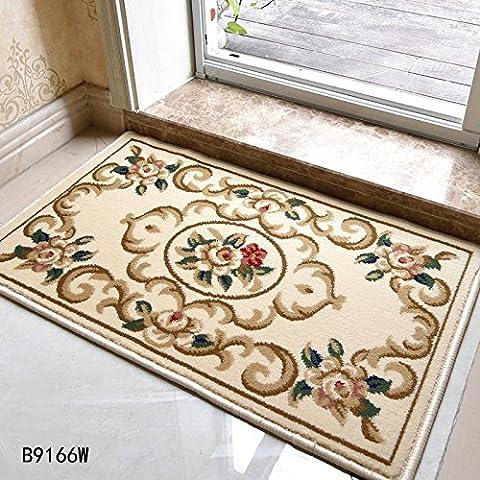 LINDONG-Tappetini continentale entrata foyer in famiglie per ammortizzare il portale celeste è non-slip B9166 Serie 0.5x0.8 ,50 m x 80 cm 530V,B9166W e colore fiore piatto