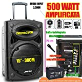 CASSA ATTIVA TROLLEY PORTATILE 500 WATT MP3 USB-SENZA FILI-SD-BLUETOOTH-RADIO FM