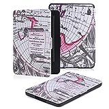 Kindle 7.Gen Hülle Case - MoKo Superleicht PU Leder Tasche Schutzhülle Schale für Amazon E-reader Kindle (7. Generation - 2014 Modell)(Nur Geeignet für Kindle 2014 Modell mit Touchscreen), Map E