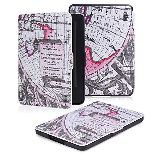 """MoKo Étui de protection pour Kindle (7ème génération - modèle 2014) - étui Flip ultra mince et léger pour Tablette Amazon Kindle écran tactile 6"""" avec Fontion de réveil / sommeil Automatique, NOIR Map E"""