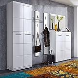 Komplett Garderoben Set ● 5-teilige Flurgarderobe Flurmöbel in Hochglanz weiß ● Schuhschrank, Spiegel, 2 Wandpaneele ● Made in Germany