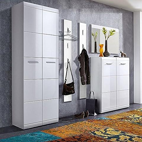 Komplett Garderoben Set ● 5-teilige Flurgarderobe Flurmöbel in Hochglanz weiß ● Schuhschrank, Spiegel, 2 Wandpaneele ● Made in