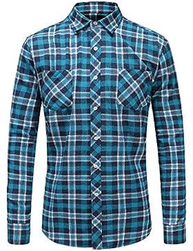 JEETOO Camicie Casual Uomo A Quadri Flanella Maniche Lunghe