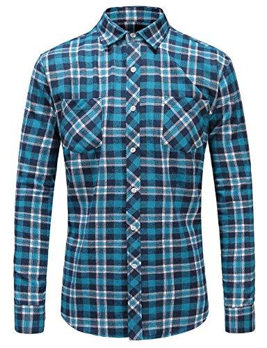 JEETOO Klassics Herren Slim Hemd Kariert Kentkragen Herbst/Winter Langarm Shirts Regular Fit Freizeit Karohemd Aus Baumwolle Blau