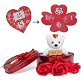 Next Bazaar Artificial Rose Soaps with Greeting Card and Teddy (Red, 1 Teddy, 1 Greeting Card , 1 Box and 3 Artificial Rose S