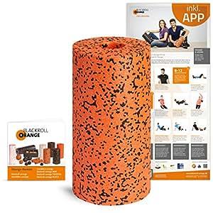 Blackroll Orange Faszienrolle Pro, Massagerolle für Faszien mit Anleitung und Übungsposter