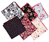 Driew 6Pcs Men Vintage Floral Cuadrado De Bolsillo Set Multicolor Handkerchief