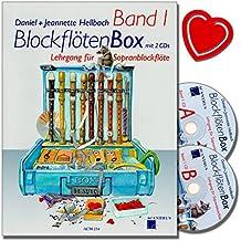BLOCKFLÖTENBOX Band 1 mit 2 CDs - Sopranblockflötenlehrgang für Kinder von Daniel Hellbach - Überarbeitete und verbesserte Neuauflage - mit bunter herzförmiger Notenklammer