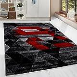 HomebyHome Moderner Design Guenstige Teppich Kurzflor abstrakt Kariert Dreieck Schwarz Grau Weiss Rot meliert 5 Groessen Wohnzimmer ver. Farben u. Groeßen, Größe:160x230 cm
