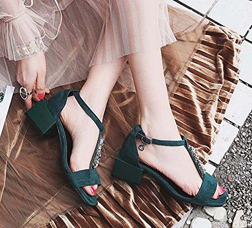 L&Y Pompa di punta del piede 2017 estate nuovo quadrato di diamante T-Strap Sandali per le donne grandi scarpe di formato UE 32-44 Verde