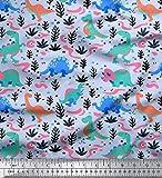 Soimoi Blau Baumwoll-Popeline Stoff Dinosaurier & Blätter Kinder Stoff drucken Meter 42 Zoll breit